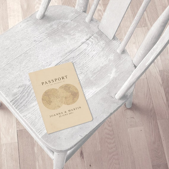 antique chic travel passport wedding invitation or ceremony program printable file vintage, order of service, travel destination wedding diy