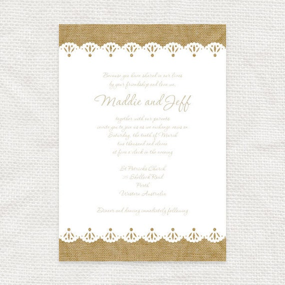 Burlap And Lace Rustic Wedding Invitation By Idoityourself