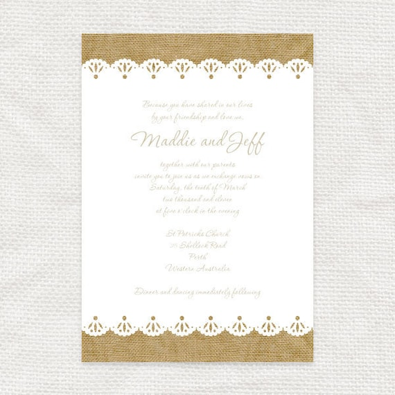 burlap and lace rustic wedding invitation - printable file - bridal shower invite