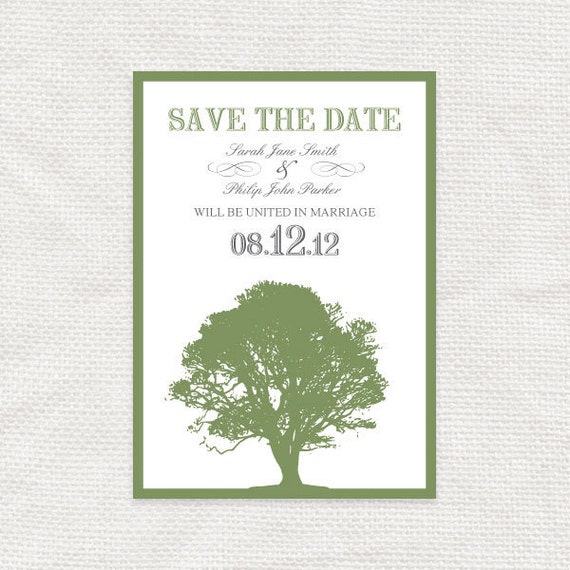oak tree save the date postcard - printable file - woodland wedding announcement forest green card diy print yourself