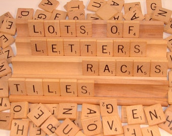 100 Vintage 1976  Wooden Scrabble Tiles and 4 Racks