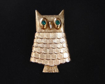 Vintage 1960s Avon Jeweled Owl Perfume Brooch - Pin