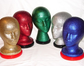 One (1) Glitter & Bedazzled Mannequin Head for Display or Home Decor