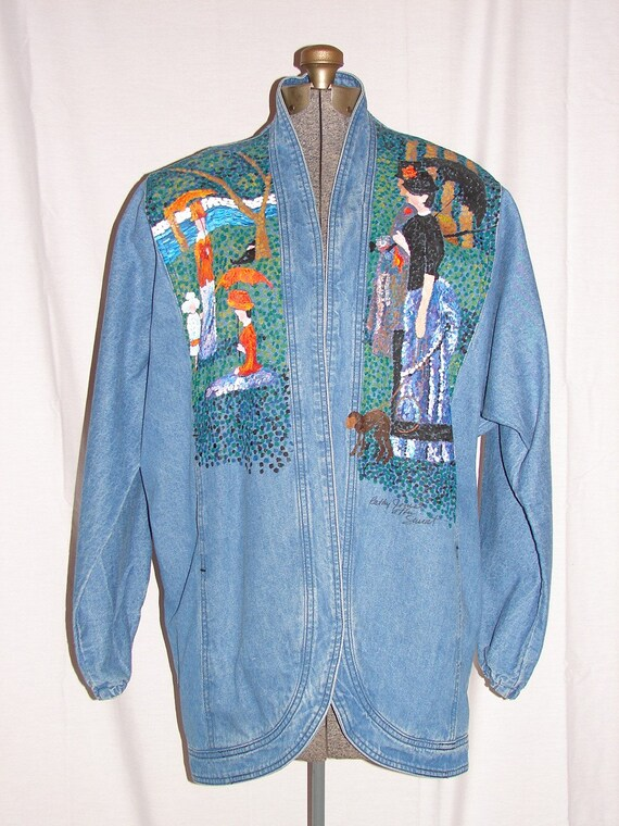 Unique Denim Jacket Hand Painted In The Style Of Monet