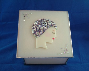 Jeweled Lady Stained Glass Box