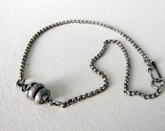 Recycled Sterling Silver Necklace. Three Rustic Beads on a Chain.