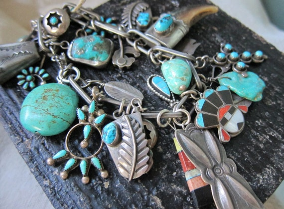 RESERVED for quirl20004 Vintage Assemblage Bracelet of Many Native American Charms