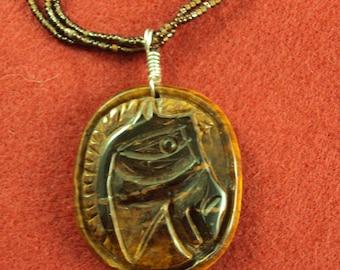 Tiger Eye Carved Horse Pendant Necklace