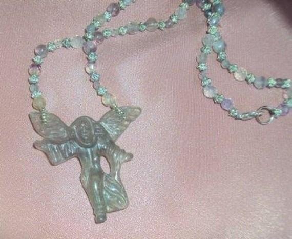 Rainbow Fluorite Angel Necklace