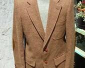 1960's brown weave wool men's jacket w/suede elbows - size 40