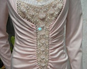 1960's-70's pink long sleeved beaded, full-length gown w/ruched front - size M-L