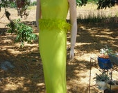 1960's-70's Lime Green, MOD, Formal 2-Piece Set with Feather Trim - size S-M
