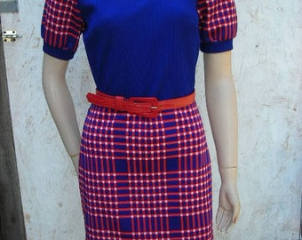 1960's blue/red poly knit minidress - size M