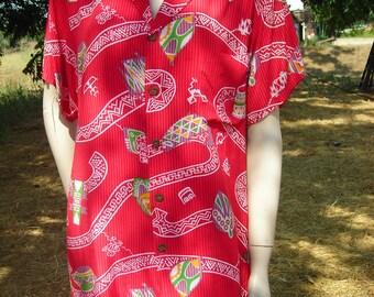 1980's Short-Sleeved, Red, Hawaiian Print, Extra Long Unisex Shirt - Size S