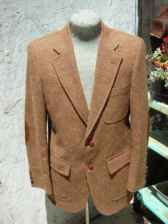 1960's brown weave wool men's jacket w/suede elbows - size 40