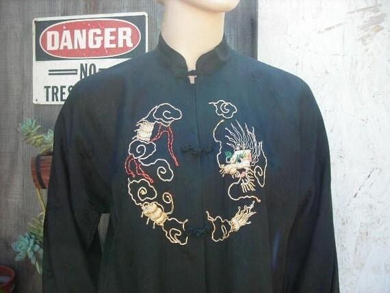 Kimono-style black embroidered blouse - size M-L