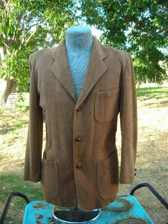 Men's 60's light brown suede dress jacket - size 40