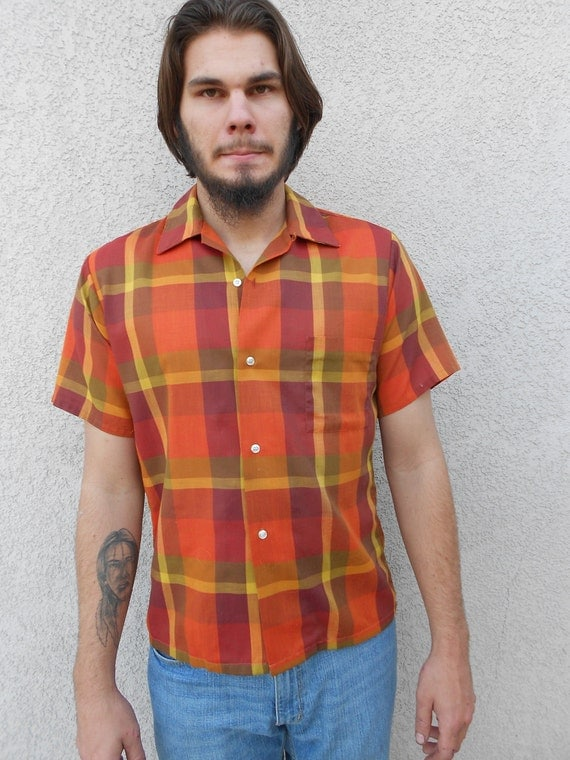 1960's orange/brown plaid short-sleeved, button-up, cotton, sporty shirt - size M