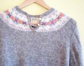 1970s Fair Isle LL Bean Sweater, Gray, S/M