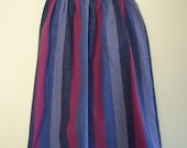 1970s/1980s Vintage Striped Skirt, Knee-Length, XS/S