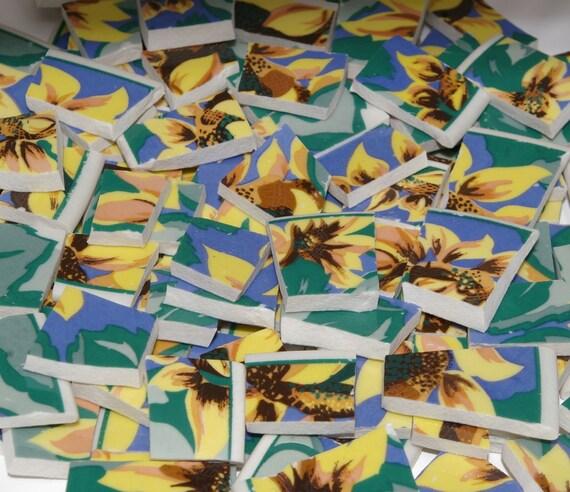 Sunflowers Hand Cut Broken China Plate Mosaic Tiles