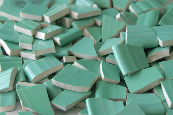 Soft mint Green Colored Hand Cut Broken China Plate Mosaic Tiles T713