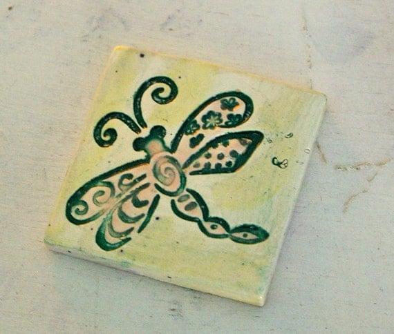 Dragonfly Designed Handmade Ceramic Tile for Mosaic Artwork or Magnets T753