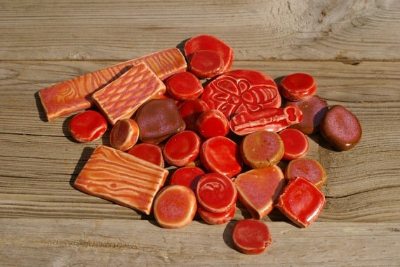 Reds and Sunset Pinks Mosaic Tiles Pottery Handmade Tile Nuggets Cabs for Mosaics or Jewelry T402