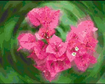 Counted Cross Stitch Pattern of Swirling Flowers