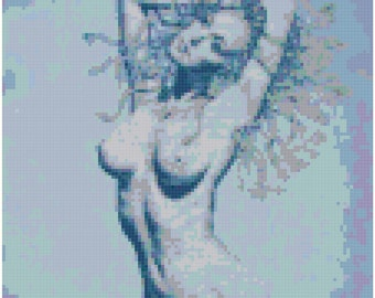 Blue Nude Original Cross Stitch Pattern