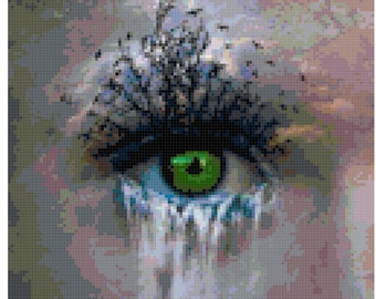 Original Cross Stitch Pattern - Waterfall Eye