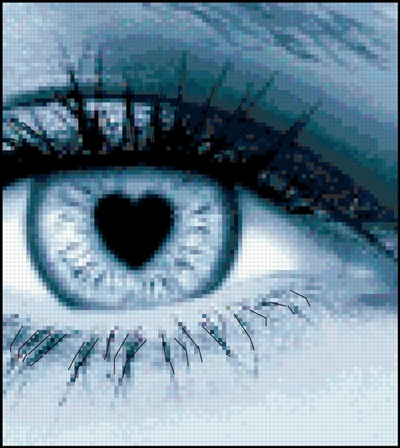 Cross Stitch Pattern of Love Struck Eye