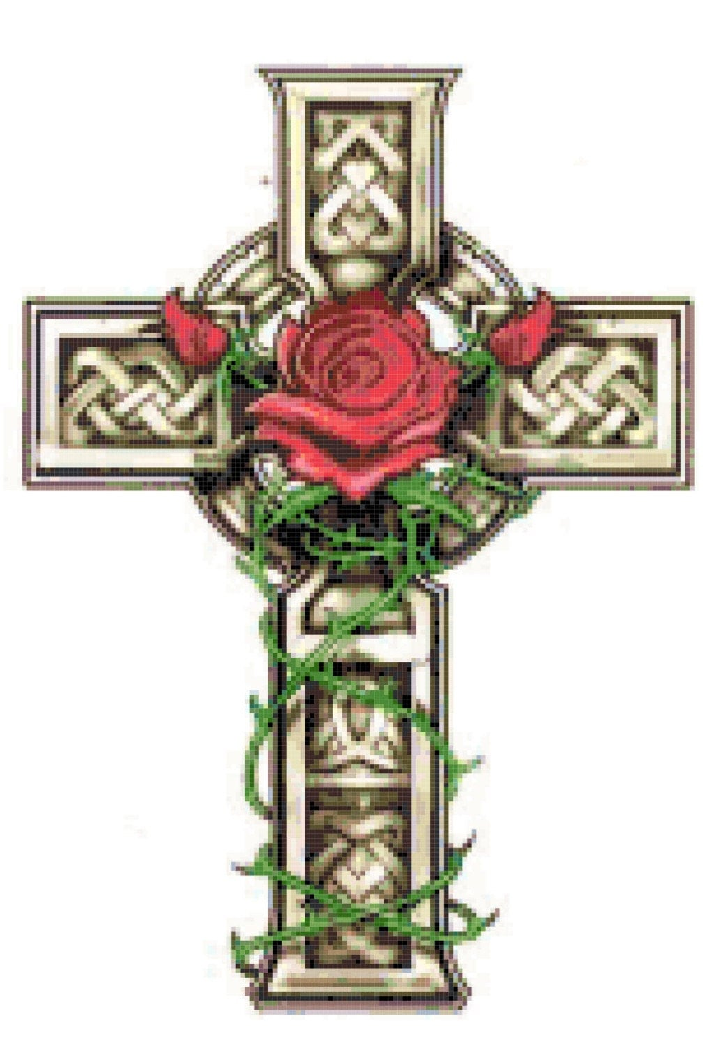 celtic cross with rose and vines cross stitch pattern. Black Bedroom Furniture Sets. Home Design Ideas