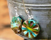 Blue Green Burst Earrings - Sterling Silver and Czech Glass