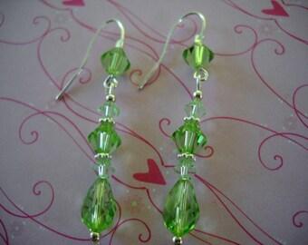 ON SALE Green Peridot Swarovski Crystal Earrings, Sterling Silver, Dangle, Wedding, Bridal, Handmade Jewelry August Birthstone