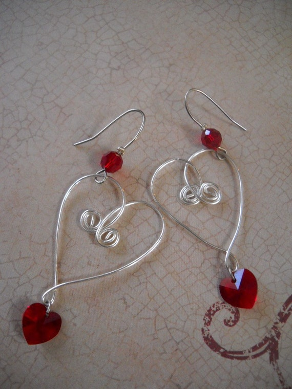 I Love You Baby Swarovski Crystal Red Heart Earrings