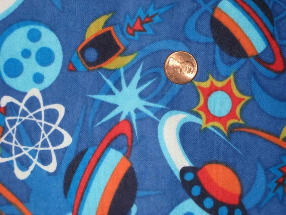 space ship rocket flannel fabric 1 yard blue by kitkatvintage