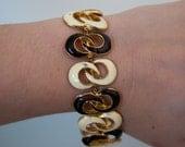 RESERVED for dira51- DG painted enamel bracelet- brown and white