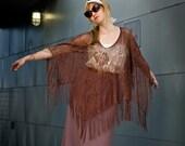 brown fringe crochet cape- one size
