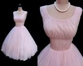 Vintage 1950's 50's Ballet Pink Chiffon Satin Cocktail Party Dress S