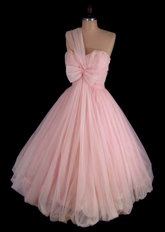 Vintage 1950&-39-s 50&-39-s Bombshell Pink Chiffon by CalendarGirlVintage