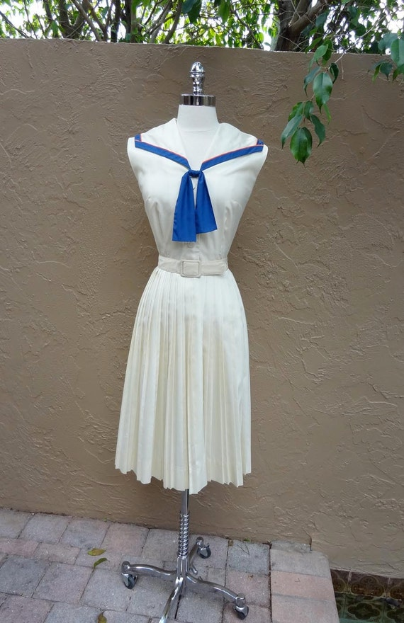 Vintage 1950's 50's Sailor Girl Nautical Polished Cotton Party Dress S