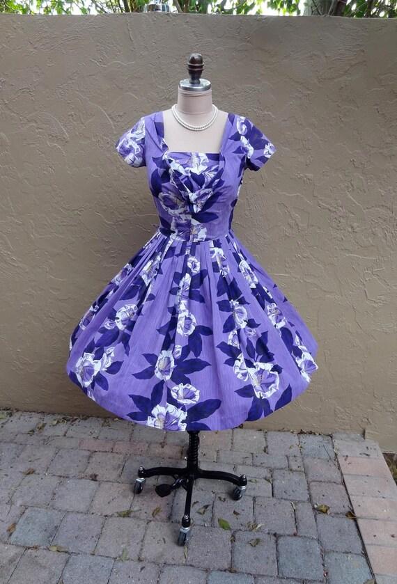 Vintage 1950's 50's Hawaiian Tropical Floral Purple Cotton Party Dress XS