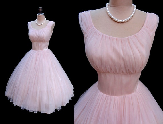 Vintage 1950's 50's Ballet Pink Chiffon Satin Cocktail Party Dress S