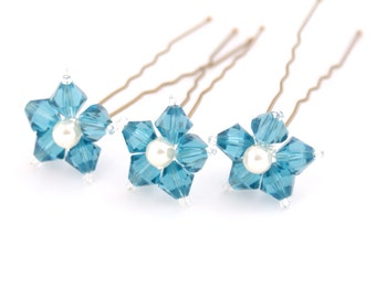 Something Blue Wedding Hair Pins. Blue Flower Hair Pins. Swarovski Crystal - Indicolite.