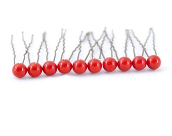 Fiesta Red Coral Pearl Hair Pins. Set of 10, 8mm Swarovski Crystal Pearls. Bridal Hair Accessories.