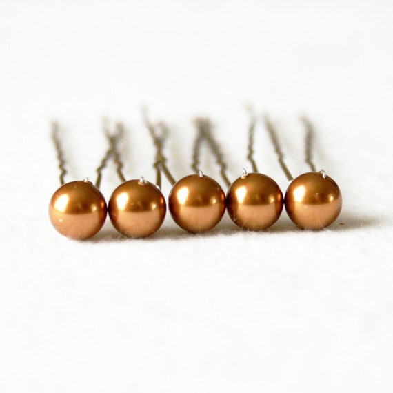 Copper Pearl Hair Pins. Set of 5, 8mm Swarovski Crystal Pearls. Bridal Hair Pins. Wedding Hair Accessories.