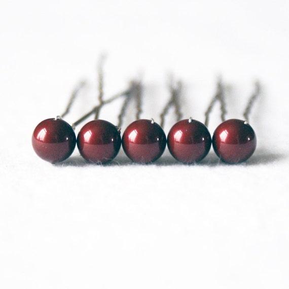 Dark Red / Bordeaux Pearl Hair Pins. Set of 5, 8mm Swarovski Crystal. Bridal Hair Accessories.