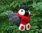 Needle Felted Canadian Chickadee CUSTOM ORDER Soft Sculpture Needlefelted Bird by Bella McBride