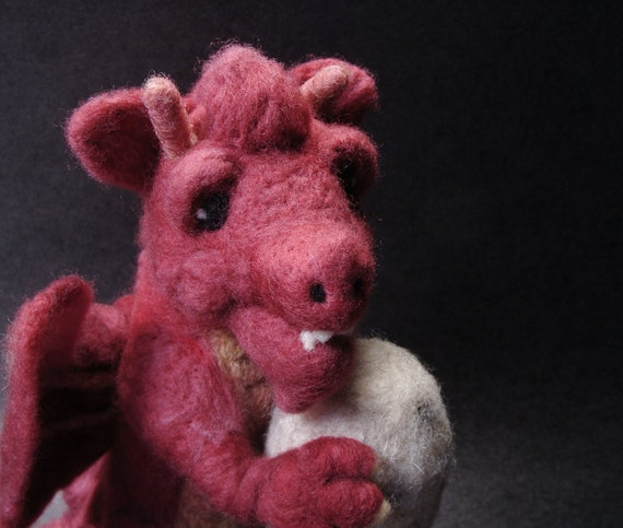 Dragon Needle Felted - Raspberry Red Ruadh the Dragon Needlefelted OOAK Soft Sculpture by Bella McBride